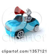 Clipart Of A 3d Armored Chevallier Knight Using A Megaphone And Driving A Blue Convertible Car On A White Background Royalty Free Illustration