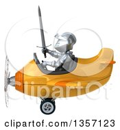 Clipart Of A 3d Armored Chevallier Knight Aviator Pilot Flying A Yellow Airplane On A White Background Royalty Free Illustration