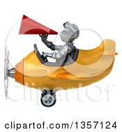 Clipart Of A 3d Armored Chevallier Knight Aviator Pilot Using A Megaphone And Flying A Yellow Airplane On A White Background Royalty Free Illustration