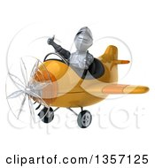 Clipart Of A 3d Armored Chevallier Knight Aviator Pilot Giving A Thumb Up And Flying A Yellow Airplane On A White Background Royalty Free Illustration