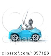 Clipart Of A 3d Armored Chevallier Knight Driving A Blue Convertible Car On A White Background Royalty Free Illustration