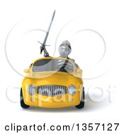 Clipart Of A 3d Armored Chevallier Knight Driving A Yellow Convertible Car On A White Background Royalty Free Illustration by Julos