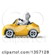 Clipart Of A 3d Armored Chevallier Knight Giving A Thumb Down And Driving A Yellow Convertible Car On A White Background Royalty Free Illustration by Julos