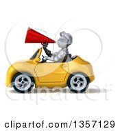 Clipart Of A 3d Armored Chevallier Knight Using A Megaphone And Driving A Yellow Convertible Car On A White Background Royalty Free Illustration