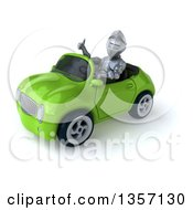 Clipart Of A 3d Armored Chevallier Knight Giving A Thumb Up And Driving A Green Convertible Car On A White Background Royalty Free Illustration by Julos