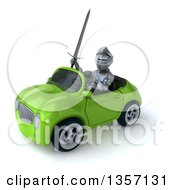 Clipart Of A 3d Armored Chevallier Knight Driving A Green Convertible Car On A White Background Royalty Free Illustration by Julos