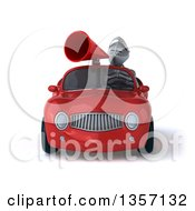 Clipart Of A 3d Armored Chevallier Knight Using A Megaphone And Driving A Red Convertible Car On A White Background Royalty Free Illustration