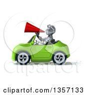 Clipart Of A 3d Armored Chevallier Knight Using A Megaphone And Driving A Green Convertible Car On A White Background Royalty Free Illustration