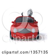 Clipart Of A 3d Armored Chevallier Knight Giving A Thumb Up And Driving A Red Convertible Car On A White Background Royalty Free Illustration