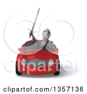 Clipart Of A 3d Armored Chevallier Knight Driving A Red Convertible Car On A White Background Royalty Free Illustration by Julos