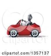 Clipart Of A 3d Armored Chevallier Knight Giving A Thumb Down And Driving A Red Convertible Car On A White Background Royalty Free Illustration