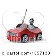 Clipart Of A 3d Armored Chevallier Knight Driving A Red Convertible Car On A White Background Royalty Free Illustration