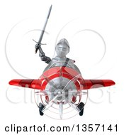 Clipart Of A 3d Armored Chevallier Knight Aviator Pilot Flying A Red Airplane On A White Background Royalty Free Illustration