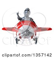 Clipart Of A 3d Armored Chevallier Knight Aviator Pilot Giving A Thumb Up And Flying A Red Airplane On A White Background Royalty Free Illustration by Julos