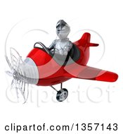 Clipart Of A 3d Armored Chevallier Knight Aviator Pilot Flying A Red Airplane On A White Background Royalty Free Illustration by Julos