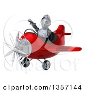 Clipart Of A 3d Armored Chevallier Knight Aviator Pilot Giving A Thumb Down And Flying A Red Airplane On A White Background Royalty Free Illustration