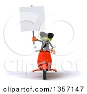 Clipart Of A 3d Green Business Frog Wearing Sunglasses Holding A Blank Sign And Riding An Orange Scooter On A White Background Royalty Free Illustration