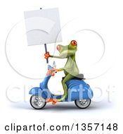 Clipart Of A 3d Green Springer Frog Holding A Blank Sign And Riding A Blue Scooter On A White Background Royalty Free Illustration