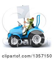 Clipart Of A 3d Green Springer Frog Holding A Blank Sign And Operating A Blue Tractor On A White Background Royalty Free Illustration