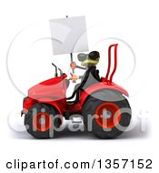 Clipart Of A 3d Green Business Frog Wearing Sunglasses Holding A Blank Sign And Operating A Red Tractor On A White Background Royalty Free Illustration
