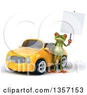 Clipart Of A 3d Green Springer Frog Holding A Blank Sign By A Yellow Convertible Car On A White Background Royalty Free Illustration
