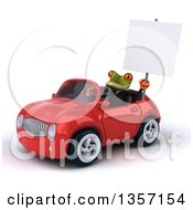 Clipart Of A 3d Green Business Frog Holding A Blank Sign And Driving A Red Convertible Car On A White Background Royalty Free Illustration