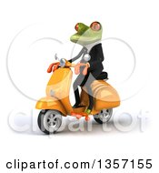 Clipart Of A 3d Green Business Frog Riding A Yellow Scooter On A White Background Royalty Free Illustration