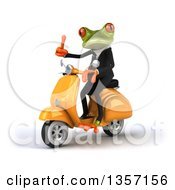 Clipart Of A 3d Green Business Frog Giving A Thumb Up And Riding A Yellow Scooter On A White Background Royalty Free Illustration