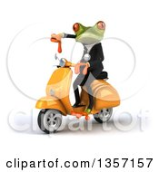 Clipart Of A 3d Green Business Frog Giving A Thumb Down And Riding A Yellow Scooter On A White Background Royalty Free Illustration