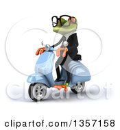 Clipart Of A 3d Green Bespectacled Business Frog Riding A Blue Scooter On A White Background Royalty Free Illustration