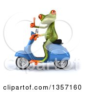 Clipart Of A 3d Green Springer Frog Giving A Thumb Up And Riding A Blue Scooter On A White Background Royalty Free Illustration