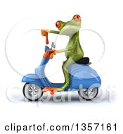 Clipart Of A 3d Green Springer Frog Giving A Thumb Down And Riding A Blue Scooter On A White Background Royalty Free Illustration