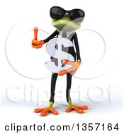 Clipart Of A 3d Green Business Frog Wearing Sunglasses Holding A Dollar Currency Symbol And Giving A Thumb Up On A White Background Royalty Free Illustration