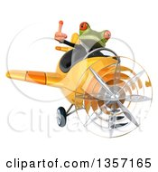 Clipart Of A 3d Green Business Frog Giving A Thumb Up And Flying A Yellow Airplane On A White Background Royalty Free Illustration by Julos