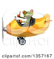 Clipart Of A 3d Green Springer Frog Aviator Pilot Giving A Thumb Up And Flying A Yellow Airplane On A White Background Royalty Free Illustration