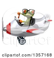Clipart Of A 3d Bespectacled Green Springer Frog Aviator Pilot Giving A Thumb Down And Flying A White And Red Airplane On A White Background Royalty Free Illustration
