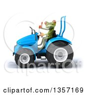 Clipart Of A 3d Green Springer Frog Giving A Thumb Up And Operating A Blue Tractor On A White Background Royalty Free Illustration