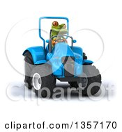 Clipart Of A 3d Green Springer Frog Operating A Blue Tractor On A White Background Royalty Free Illustration