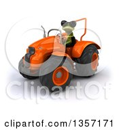 Clipart Of A 3d Green Springer Frog Wearing Sunglasses And Operating An Orange Tractor On A White Background Royalty Free Illustration