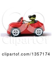 Clipart Of A 3d Green Springer Frog Wearing Sunglasses And Driving A Red Convertible Car On A White Background Royalty Free Illustration