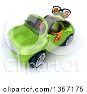 Clipart Of A 3d Bespectacled Green Springer Frog Driving A Convertible Car On A White Background Royalty Free Illustration