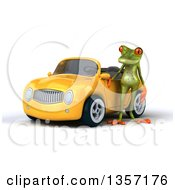 Clipart Of A 3d Green Springer Frog By A Yellow Convertible Car On A White Background Royalty Free Illustration