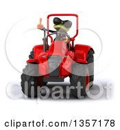 Clipart Of A 3d Green Business Frog Wearing Sunglasses Giving A Thumb Up And Operating A Red Tractor On A White Background Royalty Free Illustration