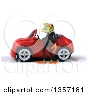 Clipart Of A 3d Green Business Frog By A Red Convertible Car On A White Background Royalty Free Illustration by Julos