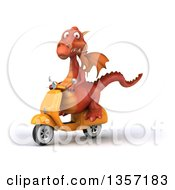 Clipart Of A 3d Red Dragon Riding A Yellow Scooter On A White Background Royalty Free Illustration
