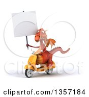 Clipart Of A 3d Red Dragon Holding A Blank Sign And Riding A Yellow Scooter On A White Background Royalty Free Illustration