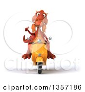 Clipart Of A 3d Red Dragon Giving A Thumb Up And Riding A Yellow Scooter On A White Background Royalty Free Illustration by Julos