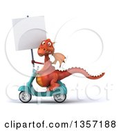 Clipart Of A 3d Red Dragon Holding A Blank Sign And Riding A Turquoise Scooter On A White Background Royalty Free Illustration by Julos