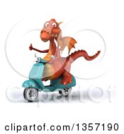 Clipart Of A 3d Red Dragon Giving A Thumb Up And Riding A Turquoise Scooter On A White Background Royalty Free Illustration by Julos