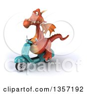 Clipart Of A 3d Red Dragon Riding A Turquoise Scooter On A White Background Royalty Free Illustration by Julos